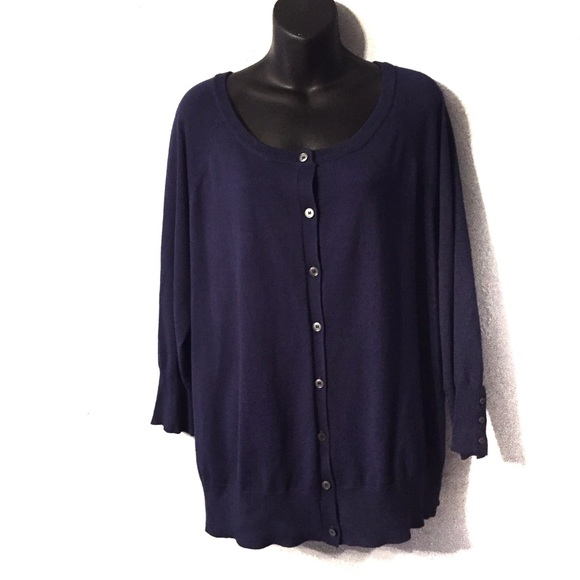 Lane Bryant Sweaters - Lane Bryant Classic Button-Front Blue Cardigan